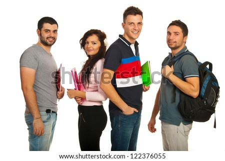 Happy students group holding notebooks isolated on white background - stock photo