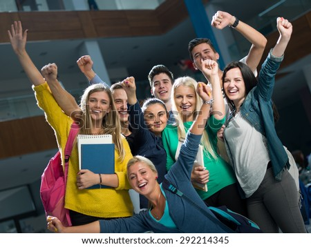 happy students group  study in classroom - stock photo