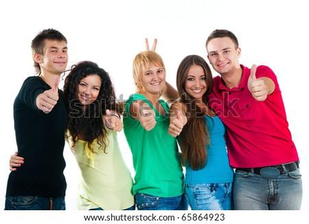 Happy students isolated on white background - stock photo