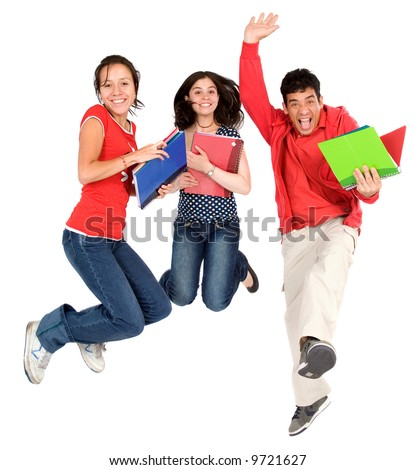 happy students jumping in the air isolated over a white background - stock photo