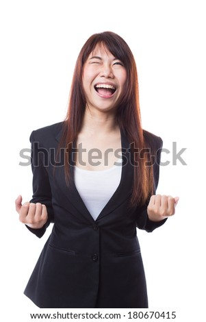 Happy  success business woman screaming, isolated on white background