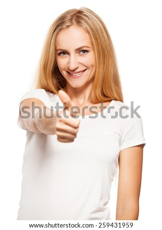 Happy success woman on white. Female showing sign ok - stock photo