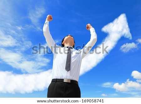happy successful business man raised arms with arrow cloud, asian people