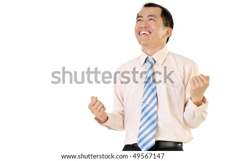 Happy successful business man with cheerful expression on white background. - stock photo