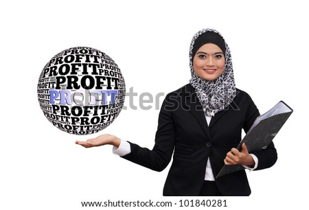 Happy successful business muslim woman with profit word globe Isolated over white background - stock photo