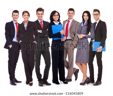 happy successful business team isolated on white background - stock photo