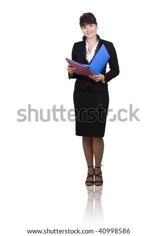 Happy successful business woman is holding folders . Young business girl with documents. - stock photo