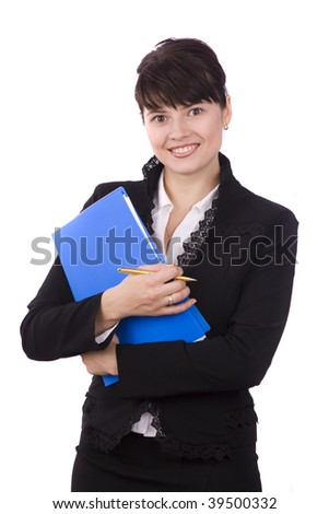 Happy successful business woman is holding folders . Young businesswoman girl with documents.