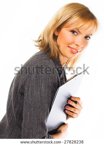 Happy successful business woman. Isolated over white