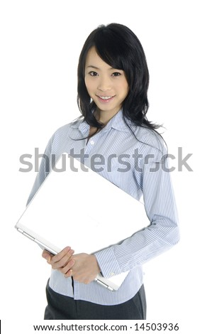 Happy successful business woman. Isolated over white background - stock photo