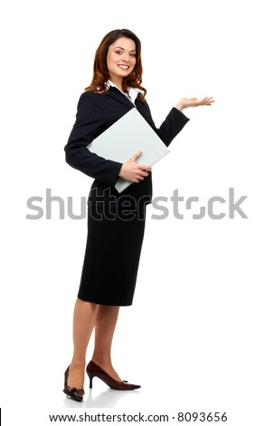 Happy successful business woman. Isolated over white background