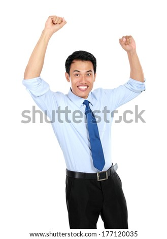 Happy successful gesturing businessman isolated on white background - stock photo