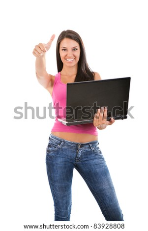 happy successful girl holding laptop, isolated on white - stock photo