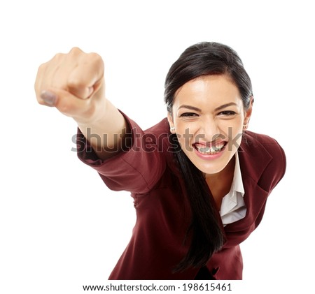 Happy successful hispanic business woman isolated over white background - stock photo