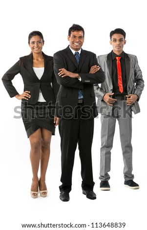 Happy & successful Indian business team. Isolated on a white background. - stock photo