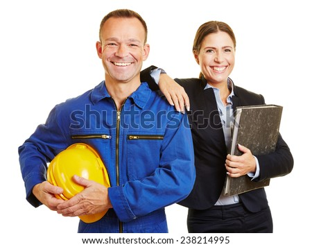 Happy successful team with male worker and businesswoman - stock photo