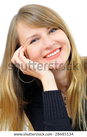 Happy sucessful businesswoman, isolated on white - stock photo