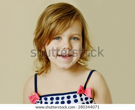 happy summer girl is wearing a swim suit - stock photo
