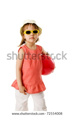 Happy summer girl wearing panama, sunglasses isolated on white