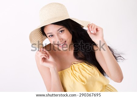 happy summer lady on plain background