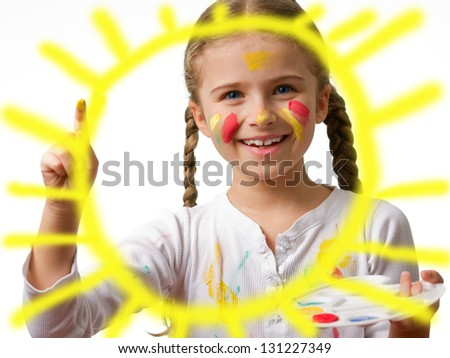 Happy summer, lovely child - Cute girl painting sun (creative kid concept) - stock photo