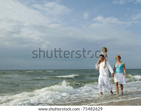 Happy summer vacation - family on the the beach