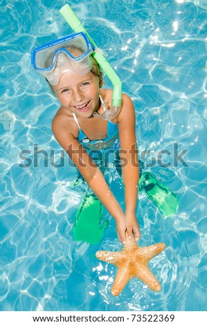 Happy summer vacation - snorkel girl with starfish - stock photo
