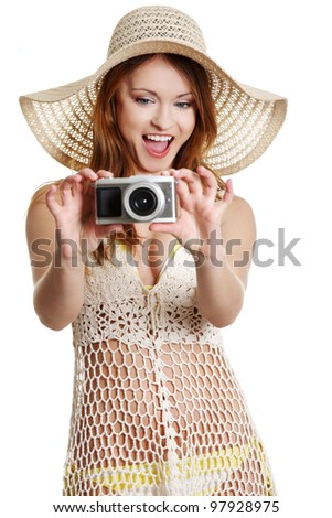 Happy summer woman making photos, isolated on white - stock photo