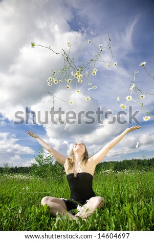 Happy Summer. Woman Relaxing On The Meadow.