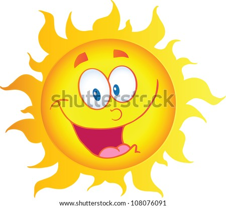 Happy Sun Cartoon Character. Raster Illustration.Vector version also available in portfolio. - stock photo
