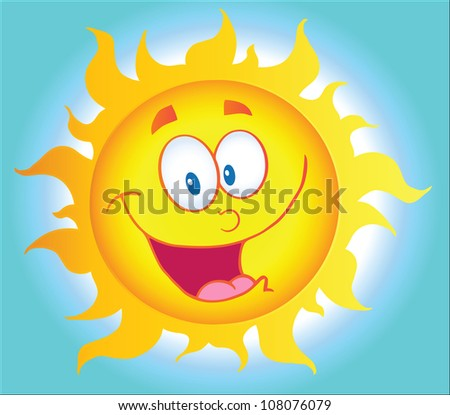 Happy Sun Cartoon Character With Background. Raster Illustration.Vector version also available in portfolio. - stock photo
