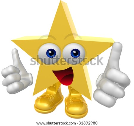 Happy super star character - stock photo