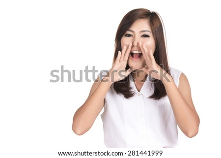 Happy surprised excited asian woman covering with hands her mouth with blank copyspace,Portrait beautiful Asian woman,Thai girl,Positive human emotion facial expression,isolated on white background - stock photo