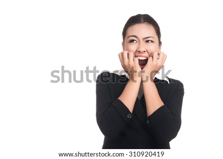 Happy surprised excited business asian woman with blank copy space,Closeup portrait beautiful Asian woman,Thai girl,Positive human emotion facial expression,isolated on white background - stock photo