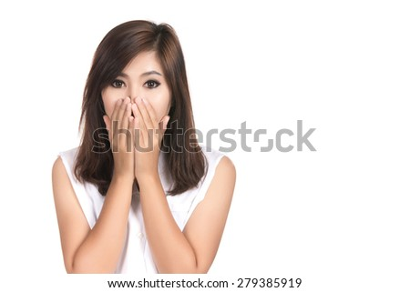 Happy surprised excited woman covering with hands her mouth with blank copyspace,Closeup portrait beautiful Asian woman,Thai girl,Positive human emotion facial expression,isolated on white background - stock photo