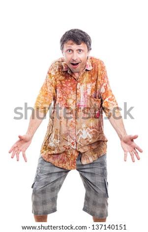 Happy surprised man, isolated on white background - stock photo