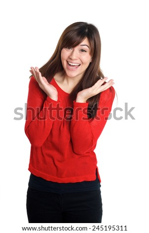 Happy surprised woman in red  on white background - stock photo