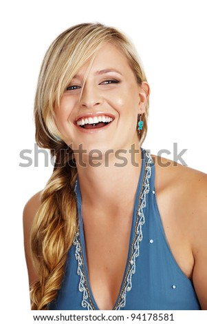 happy tanned blond woman with long blond hair smiling on white background - stock photo