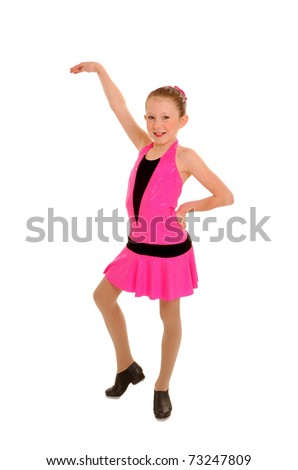 Happy Tap Dancer Girl in Pink Costume