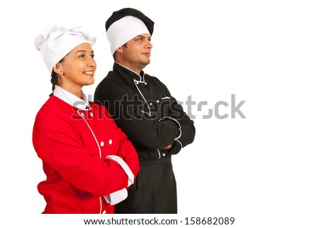 Happy team chefs looking to future isolated on white background - stock photo