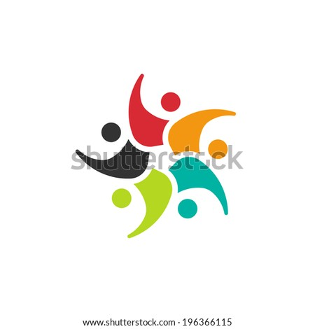 Happy Team circle 5 people.Concept of group, friendship,happiness - stock photo