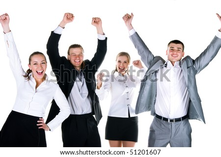 Happy team. Four peoples are smiling. Studio shot - stock photo