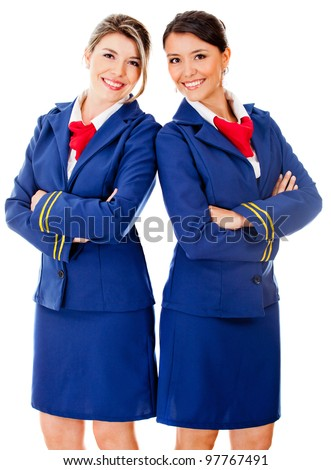 Happy team od flight attendants smiling - isolated over a white background - stock photo