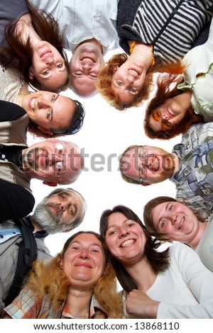 Happy team. 11 peoples. Isolated. - stock photo