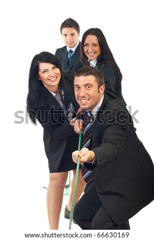 Happy team pulling rope and having fun isolated on white background - stock photo