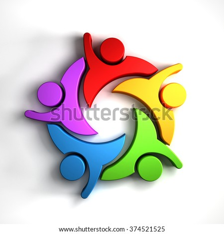 Happy Teamwork 5 group of people logo graphic - stock photo