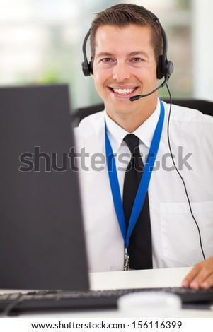 happy technical call center operator with headphones
