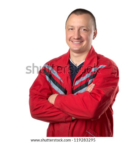 Happy technician with crossed hands isolated on white - stock photo
