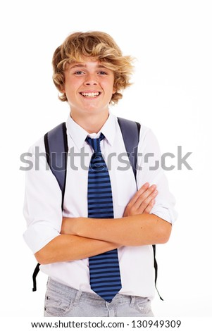 happy teen boy student arms crossed on white - stock photo