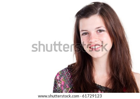 happy teen girl isolated on white - stock photo